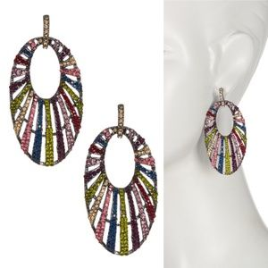 NWT Amrita Singh Gunmetal Rainbow Crystal Earrings